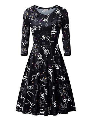 Halloween Color Block Skater Round Neckline X-line Dress (109555468)
