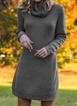 Casual Solid Sweater Draped Neckline Shift Dress (1436377)