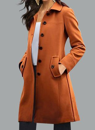 Long Sleeve Collar Buttons Pockets Peacoats (102459241)