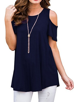 Solid Casual Cotton Round Neckline Short Sleeve Blouses
