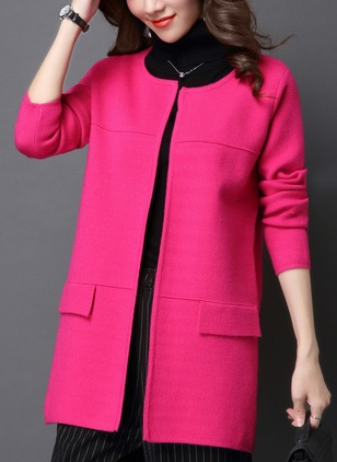 Cotton & Cotton Blend Long Sleeve Round Neck Pockets Coats
