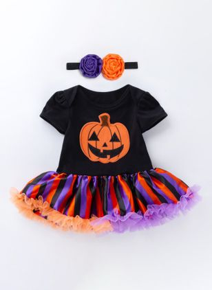 Girls' Halloween Color Block Daily Short Sleeve Clothing Sets (112236634)