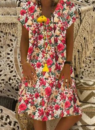 Casual Floral Tunic V-Neckline Shift Dress (5144514)