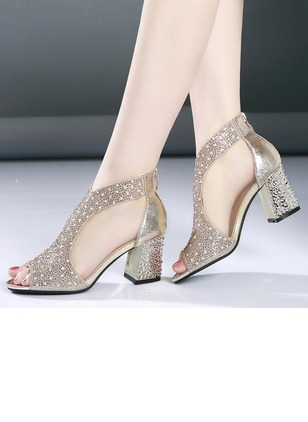 Rhinestone Chunky Heel Shoes