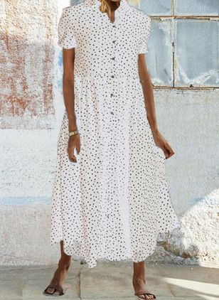 Casual Polka Dot Shirt V-Neckline T-shirt Dress (4228638)