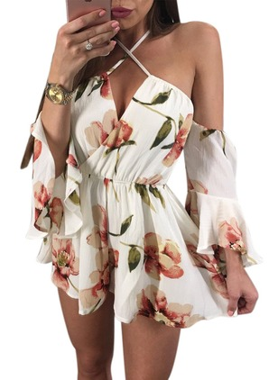 Rayon Floral 3/4 Sleeves Casual Jumpsuits & Rompers