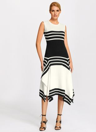 Color Block Sleeveless Midi A-line Dress