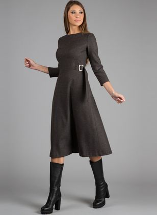 Solid Wrap 3/4 Sleeves Midi A-line Dress