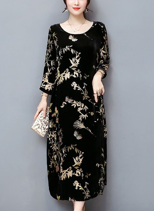Cotton Floral 3/4 Sleeves Maxi Shift Dress