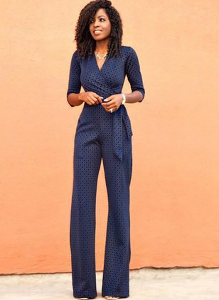 Lace Polka Dot 3/4 Sleeves Wave Point Jumpsuits & Rompers
