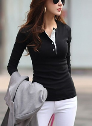 Color Block V-Neckline Long Sleeve T-shirts