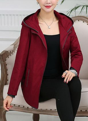 Long Sleeve Hooded Zipper Coats Jackets