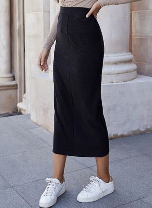 Solid Mid-Calf Casual Skirts (111608360)