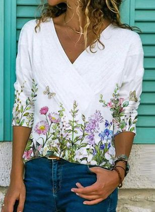 Floral V-Neckline Long Sleeve Casual T-shirts (147137888)