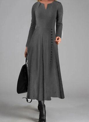 Elegant Solid V-Neckline Maxi X-line Dress (120294973)