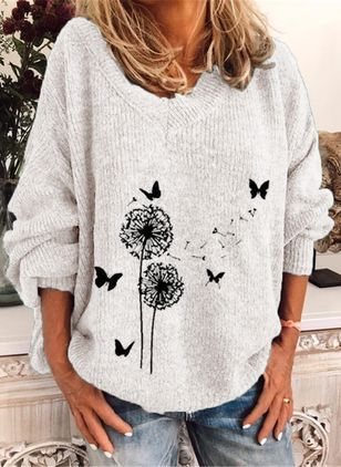 V-Neckline Floral Casual Regular Shift Sweaters (119993073)