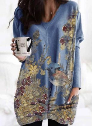 Casual Floral Tunic V-Neckline A-line Dress (103037883)