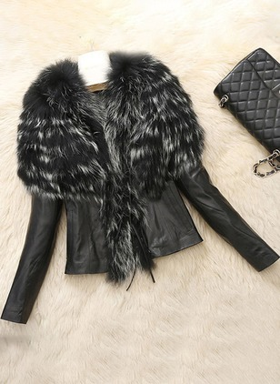 Faux Fur Long Sleeve Other Pockets Unremovable Fur Collar Fur Coats