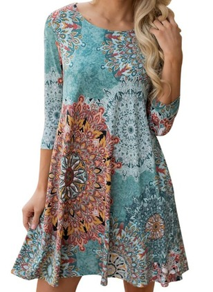 Floral 3/4 Sleeves Above Knee Shift Dress