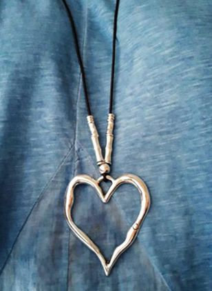 Casual Heart No Stone Pendant Necklaces (4135024)