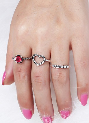 Heart Round Crystal Rings 3pcs