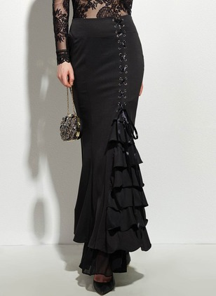 Polyester Solid Maxi Casual Ruffles Skirts