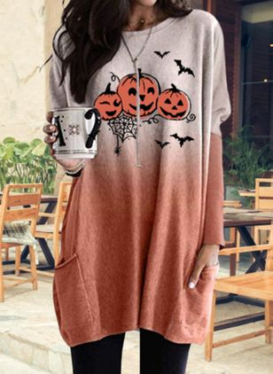 Halloween Color Block Tunic Round Neckline Shift Dress (109554428)