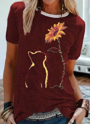 Animal Round Neck Short Sleeve Casual T-shirts (2200348)