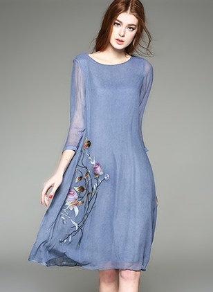 Chiffon Floral 3/4 Sleeves Knee-Length Shift Dress