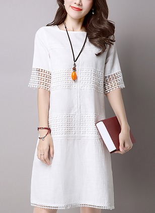 Cotton Solid Hollow Out Half Sleeve Shift Dress