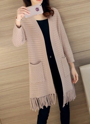 Polyester Long Sleeve Collarless Tassel Pockets Coats