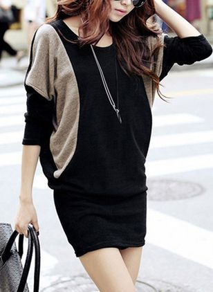 Color Block Long Sleeve Mini Shift Dress