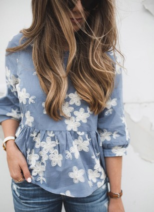 Floral Cotton Round Neckline 3/4 Sleeves Blouses