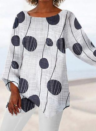 Polka Dot Casual Round Neckline 3/4 Sleeves Blouses (6047161)