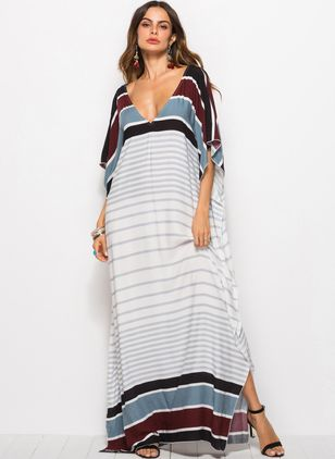 Color Block 3/4 Sleeves Maxi Shift Dress