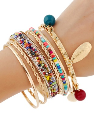 7pcs Ball Round No Stone Bangle Bracelets (1194722)