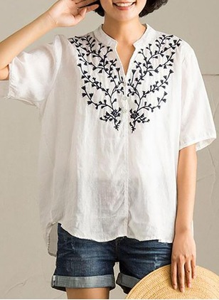 Floral Casual Polyester Others Half Sleeve Blouses