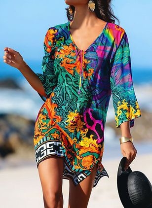 Polyester High Neckline Pattern Cover-Ups Swimwear