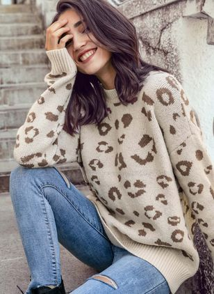 High Neckline Leopard Loose Regular Sweaters