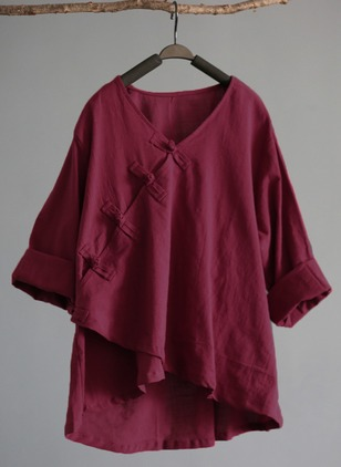 Solid Cotton V-Neckline 3/4 Sleeves Blouses