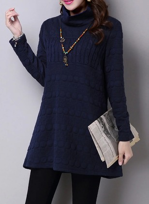 Cotton Solid High Neckline Long Sleeve Shift Dress