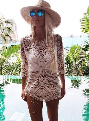 Polyester Crochet Cover-Ups Swimwear
