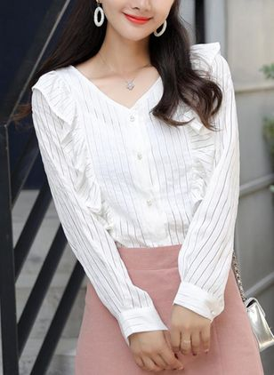 Solid Cute V-Neckline Long Sleeve Blouses
