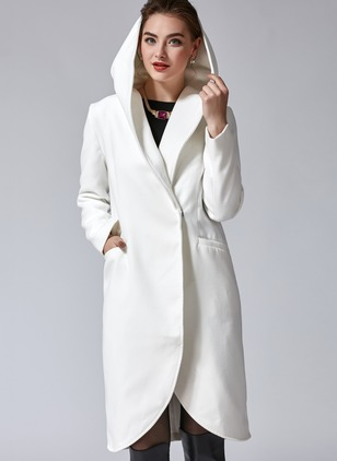 Long Sleeve Hooded Pockets Trench Coats (1027693)