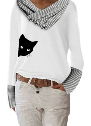 Animal Casual V-Neckline Long Sleeve Blouses (146787317)