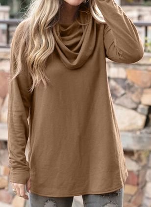 Solid Casual Draped Neckline Long Sleeve Blouses (108088562)