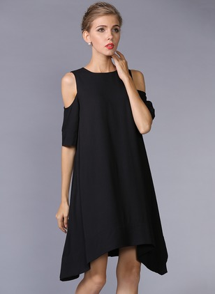 Polyester Solid Short Sleeve High Low Casual Dresses  ...