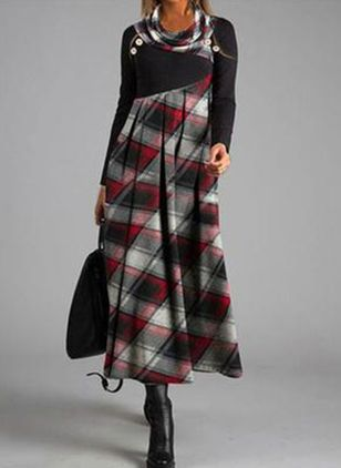 Trendy Plaid Tunic Round Neckline A-line Dress (108858258)