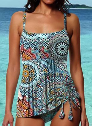 Plus Size Polyester Color Block Tankinis Swimwear