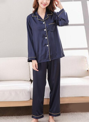 Polyester Collar Stripe Pockets Pajamas